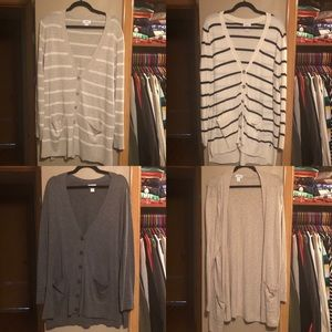 FOUR OLD NAVY CARDIGAN SWEATERS